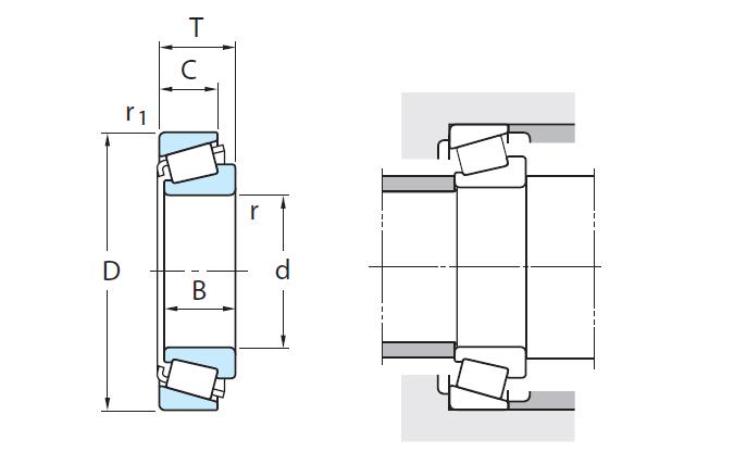 Technische tekening Kegellagers