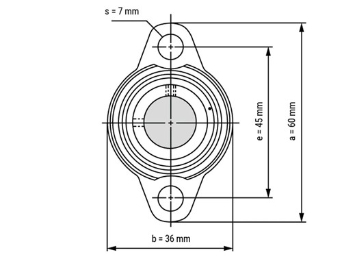 IBB Flenskogellager Ovaal KFL000 RVS (10mm)
